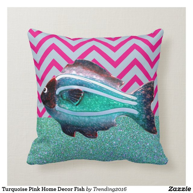 FISH Teal Chevron Glitter cushion personalized