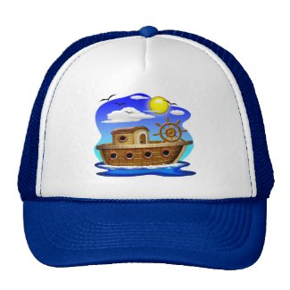 Fishing Boat Cartoon Trucker Hat