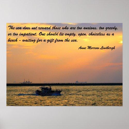 Fishing Boat Sets out at Sunset print