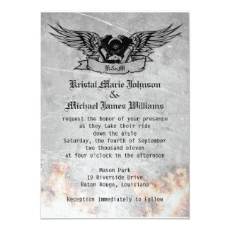 Flaming Biker Wedding 5x7 Paper Invitation Card