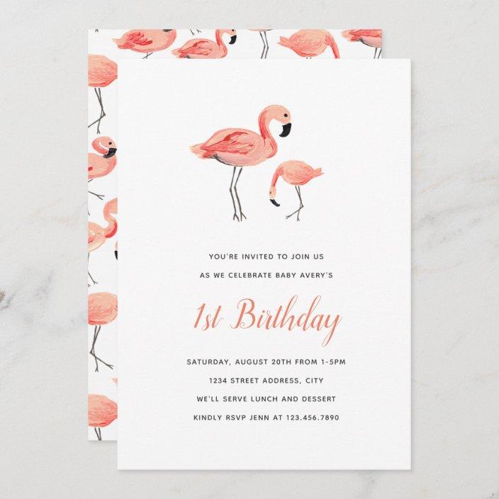 flamingo birthday party invitation zazzle com