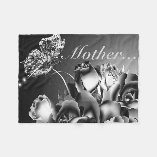Fleece Blanket/Flowers and Butterfly