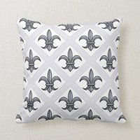 Fleur-de-Lis Pillow (silver) | Zazzle
