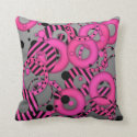 Floating circles Hot pink Silver Throw Pillows