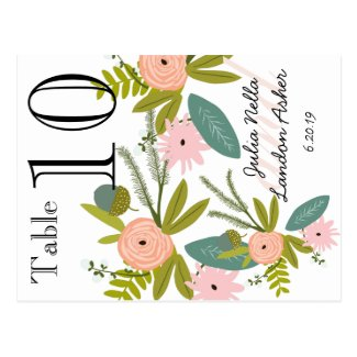 Flora and Fauna Peach and Mint Table Number Post Card