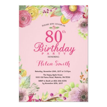 Floral 80th Birthday Invitation for Women Pink