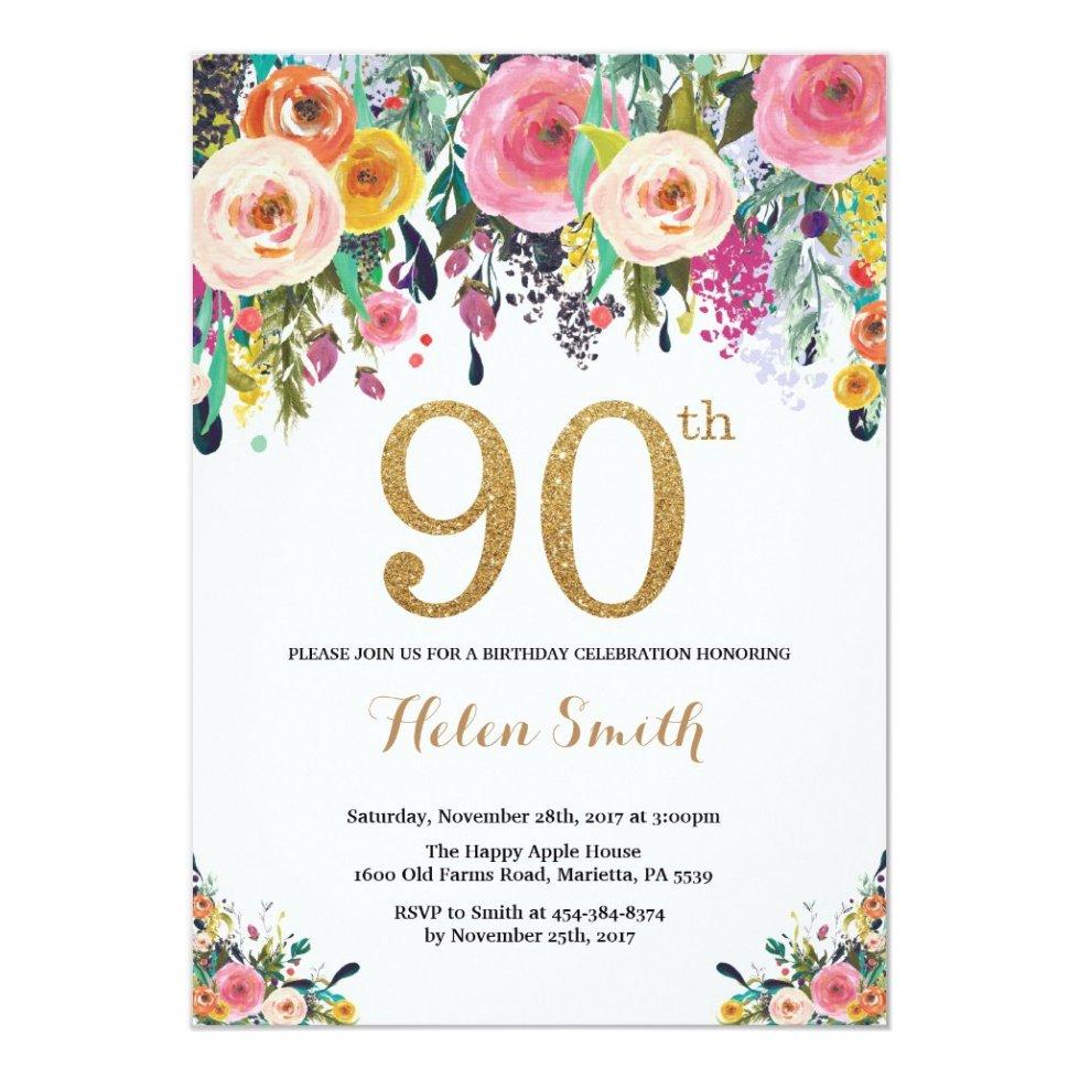 Floral 90th Birthday Invitation Gold Glitter