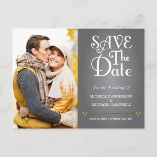 Floral Amperstand Save the Date Postcard in Yellow