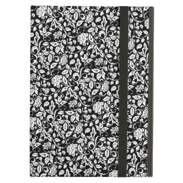 Floral Black and White Rose Vine Pattern Case For iPad Air