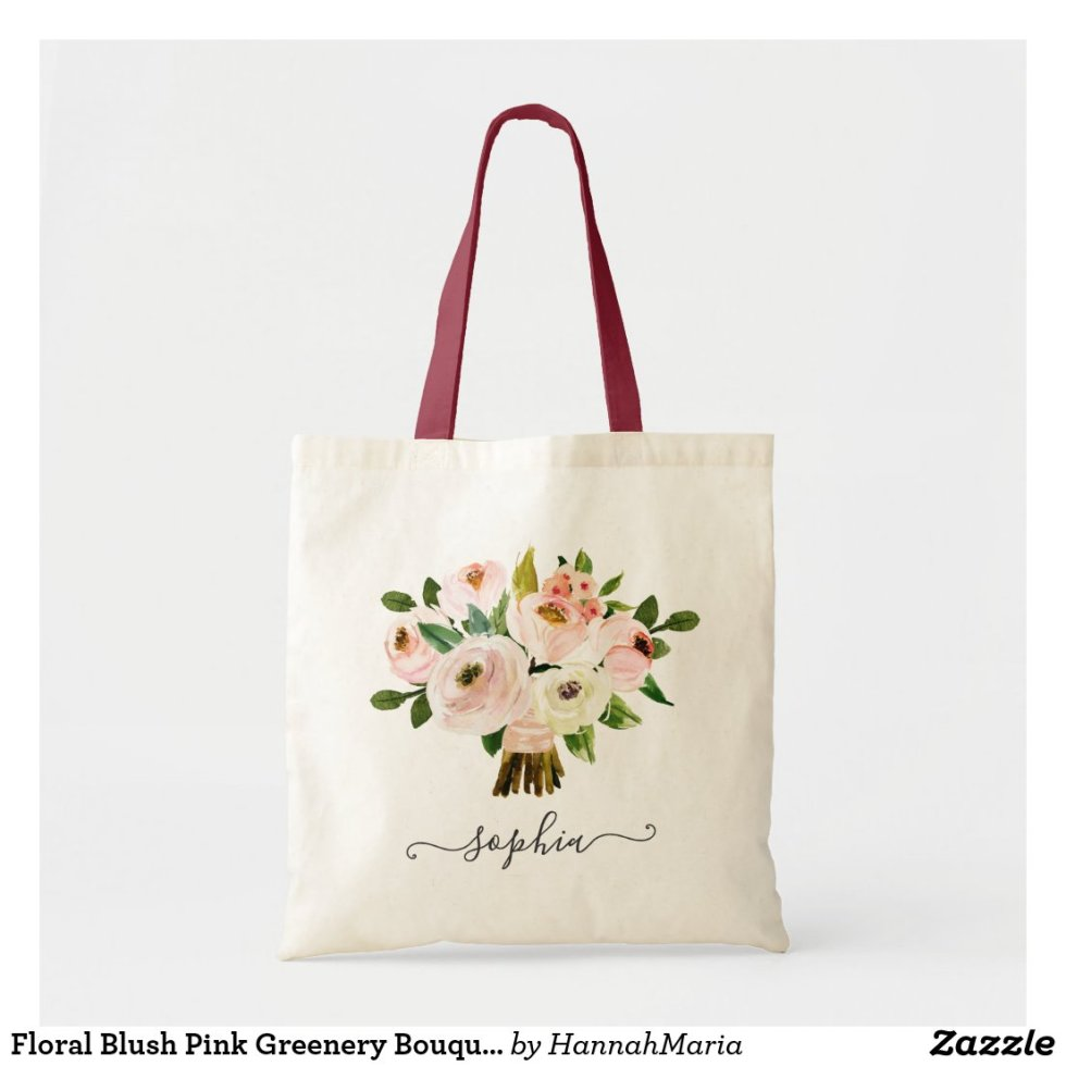 Floral Blush Pink Greenery Bouquet Personalized Tote Bag