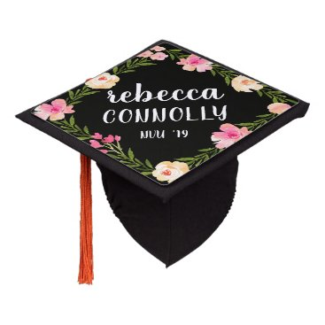 Floral Border | Custom Name and Class Year Graduation Cap Topper