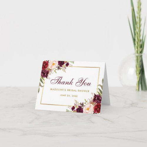 Floral Burgundy Gold Bridal Shower Thanks B Note Thank You Card