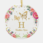 Floral Butterfly 1st First Christmas Photo Ceramic Ornament