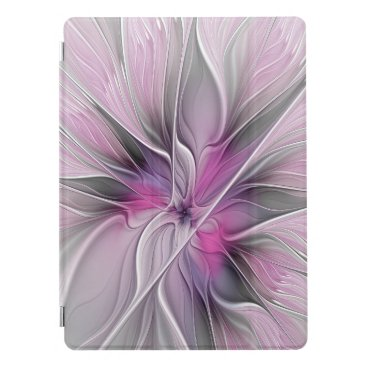 Floral Fractal Modern Abstract Flower Pink Gray iPad Pro Cover