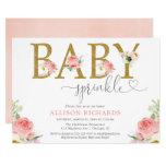 Floral girl baby sprinkle, blush pink gold elegant invitation