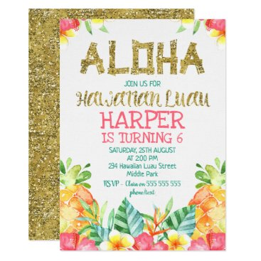 Floral Hawaiian Luau Birthday Invitation