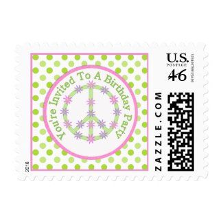 Floral Peace Sign: Birthday Party Postage zazzle_stamp