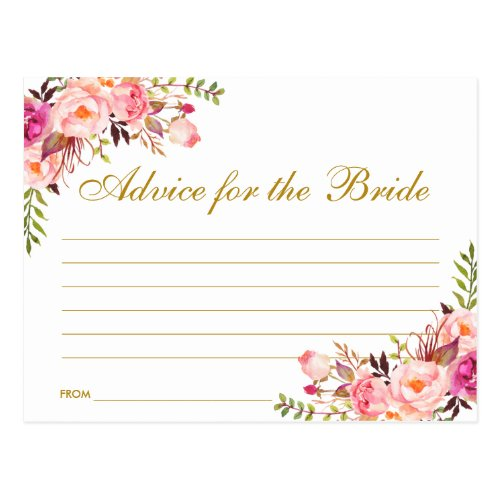 Floral Pink Blush Gold Bridal Shower Advice Card L