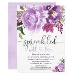 Floral purple girl baby shower sprinkle invitation