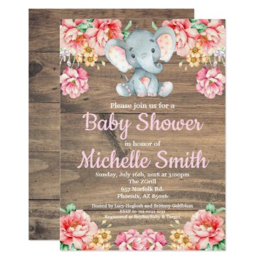 Floral Rustic Pink Girl Wood Elephant Baby Shower Invitation