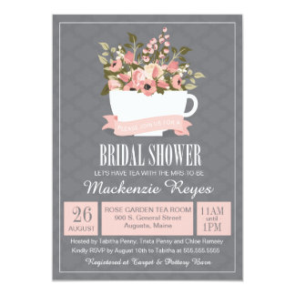 Fl Teacup Bridal Shower Invitation Tea Party Card