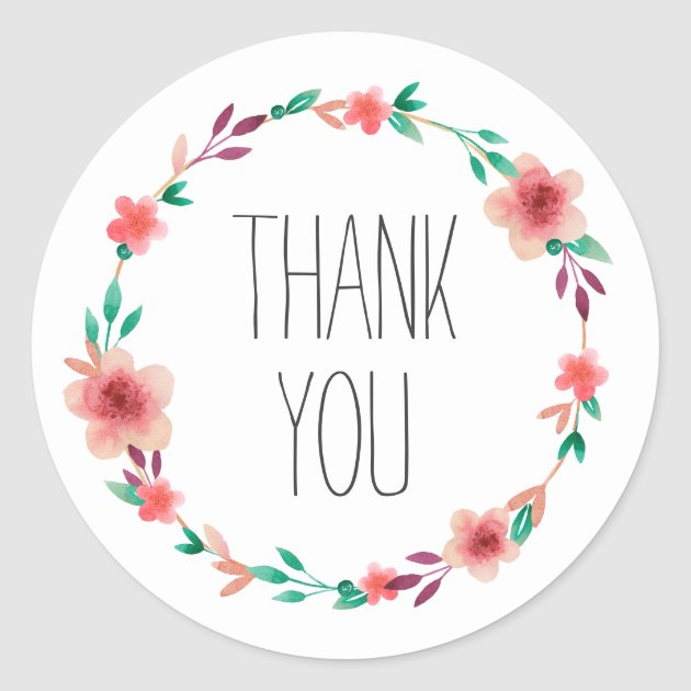 Floral Wedding Thank You Flower Wreath Favor Classic Round