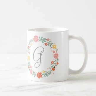Floral Wreath Monogram Mug