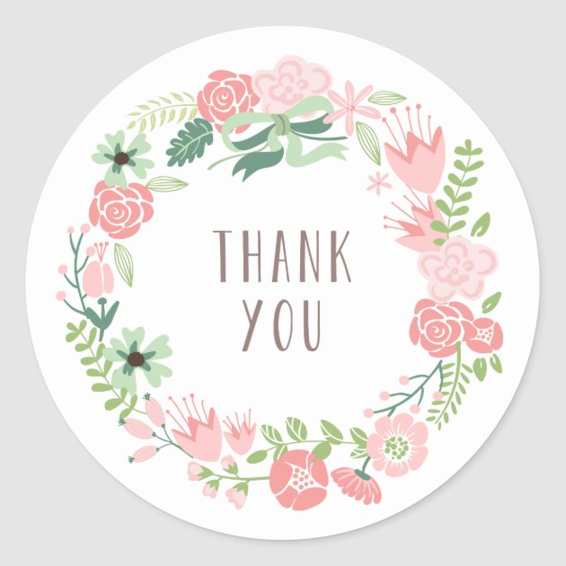Floral Wreath  Thank You Stickers  Zazzlecom