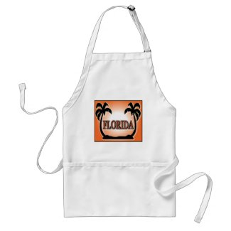 Florida Airbrushed Look Orange Sunset Palm Trees Aprons