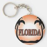 Florida Airbrushed Look Orange Sunset Palm Trees keychains