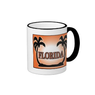 Florida Airbrushed Look Orange Sunset Palm Trees Coffee Mugs