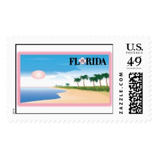 Florida Beach Postcard Scene Stamp