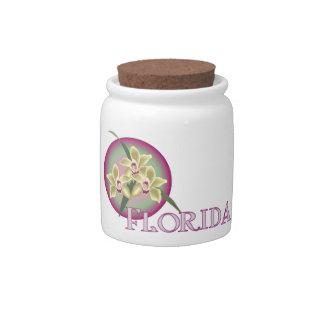 Florida Orchid Trio Candy Jar