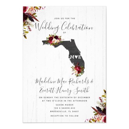Florida State Destination Wedding Invitation