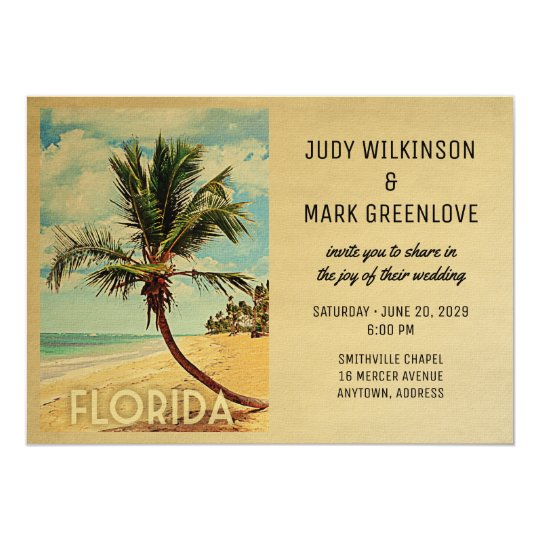 Florida Wedding Invitation Beach Palm