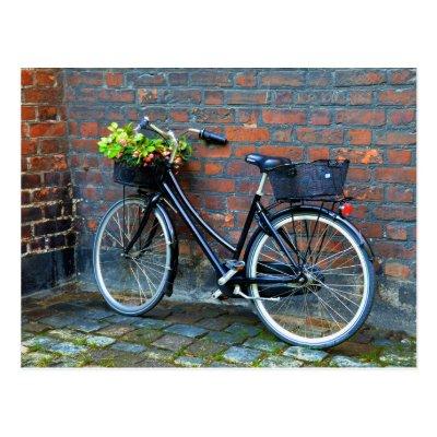 Flower Basket Bicycle, Copenhagen, Denmark Post Card