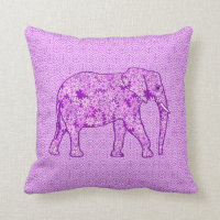Flower elephant - amethyst purple throw pillow