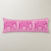 Flower elephant - fuchsia pink body pillow
