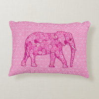 Flower elephant - fuchsia pink decorative pillow