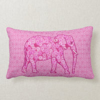Flower elephant - fuchsia pink lumbar pillow