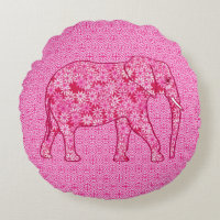 Flower elephant - fuchsia pink round pillow