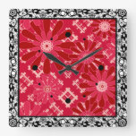 Flower plaid , floral , plaid , red , red , rustic square wall clock