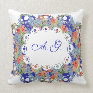 Flowers, Lace and Monogramm Pillow mojo_throwpillow