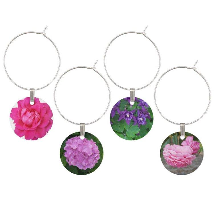 Flowers Wine Charms
