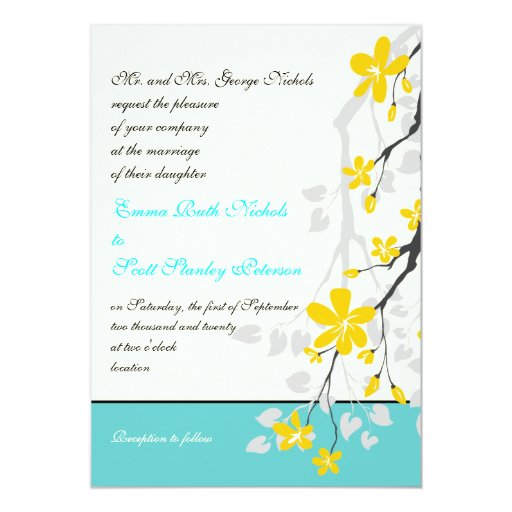 Flowers yellow turquoise wedding invitation