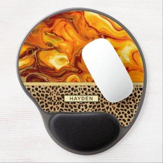 Fluid Art Pour Personalized Leopard Print Gel Mouse Pad