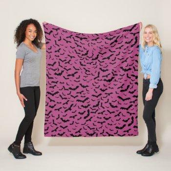 Flying Black Bats Purple Fleece Blanket