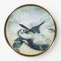 Flying Green Sea Turtle | Wall Clocks | Zazzle