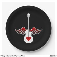 Flying Heart Guitar 9 Inch Paper Plate | Zazzle