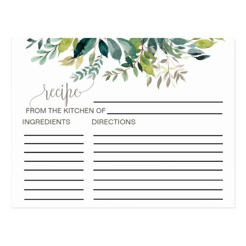 Foliage Bridal Shower Recipe Cards